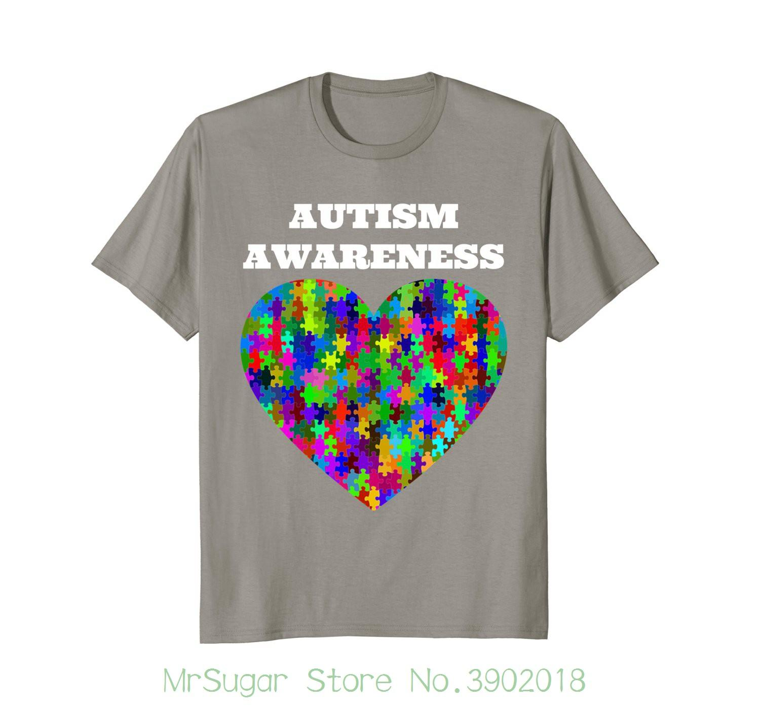 8d155f1c8 Autism Awareness T Shirt Rainbow Heart Puzzle Round Neck Best Selling Male  Natural Cotton Shirt T Shirts With Prints Humorous Shirts From  Mrsugarstore, ...