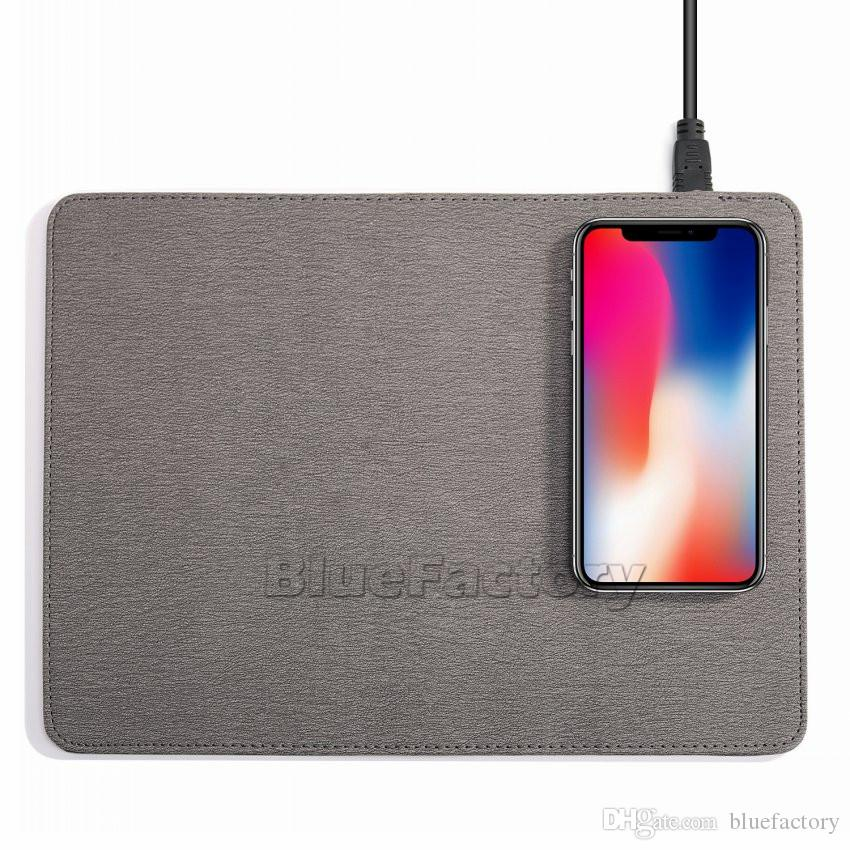 Qi Wireless Charger Mouse Pad Multifunktions-Leder-Reise-Mauspad für iPhone X 8 sowie Samsung S9 Plus S7 Note 8 Smartphone