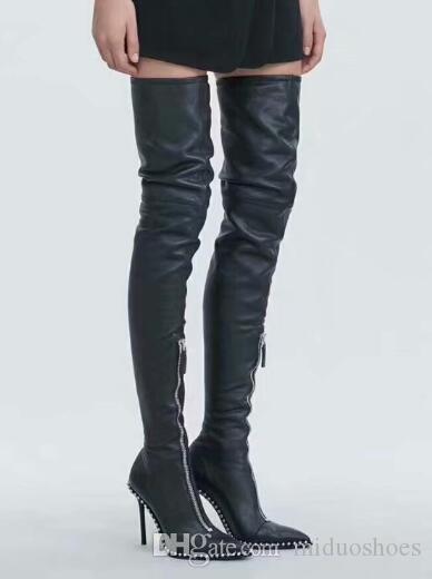 04ddfe45f366 Großhandel Frauen 3 Style High Heel Über Knie Stiefel Aus Echtem Leder  Reißverschluss Diamond Boots Party Kleid Schuhe Frauen Größe 35 41 Von  Miduoshoes, ...