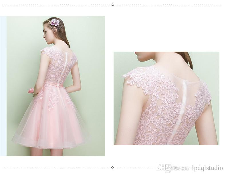Lovely Pink Prom Dresses Ball Gown Knee Length Party Dress Sheer with Applique Zipper Back Evening Gowns Cheap Big Sale