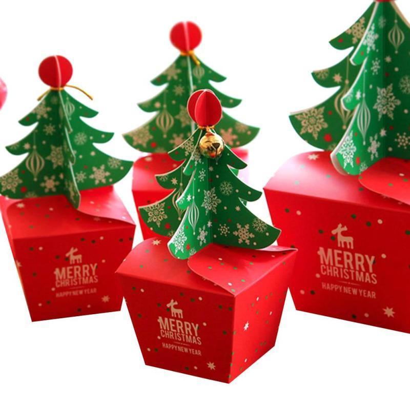 Al por mayor / árbol de Navidad Conjunto 3D Feliz Navidad del caramelo bolso de la caja Caja de regalo con las campanas y caja de papel Cuerdas