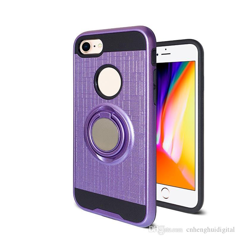 PHONE For ZTE Avid Trio/Warp TPU Hybrid Defender Brushed Metal Cell Phone Case With Ring Kickstand Cover Low Price CASE