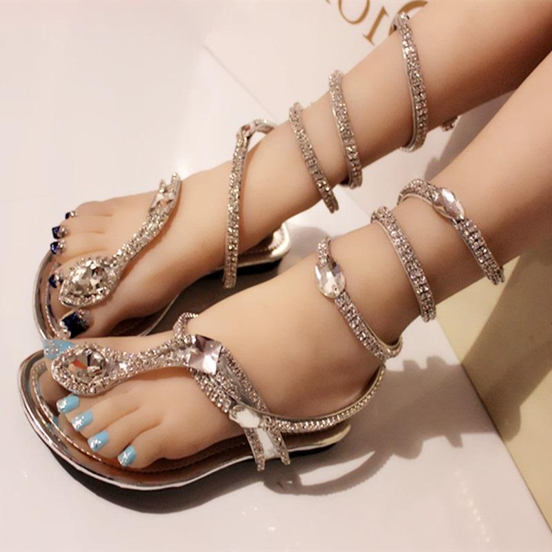 dbb0370f6 Sexy Coiled Serpentine Clip Toe Flat Sandals Bling Crystals Cross Straps  Shoes Summer Silver Party Shoes Metal Decor Sandal Sandals For Women Knee  High ...