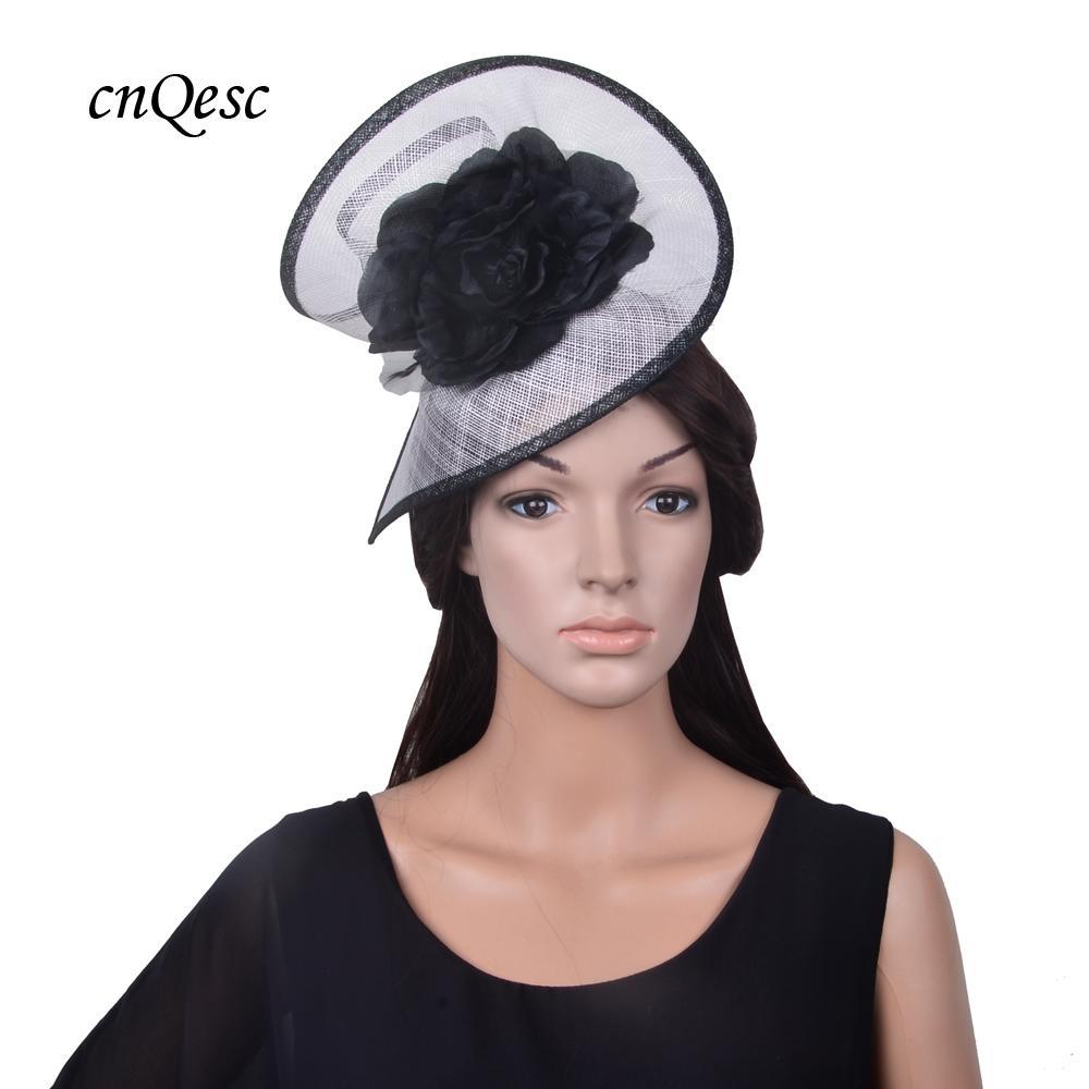 Exclusive Design BIG White Black Bridal Fascinator Sinamay Hat Fedora With  Silk Flower  d67258aff42