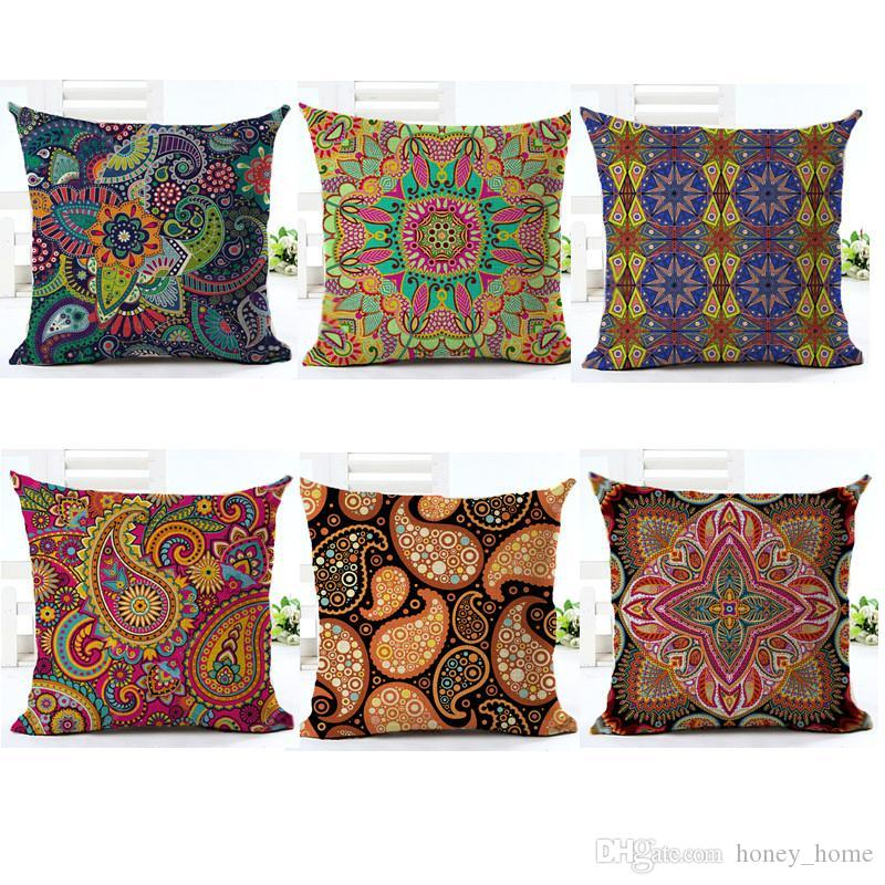 Paisley Cushion Cover Bohemian Style Pillow Cover Cotton Linen Square Cushion  Cover For Sofa Home Decorative Throw PillowCase Sewing Pillowcases Sewing  ...
