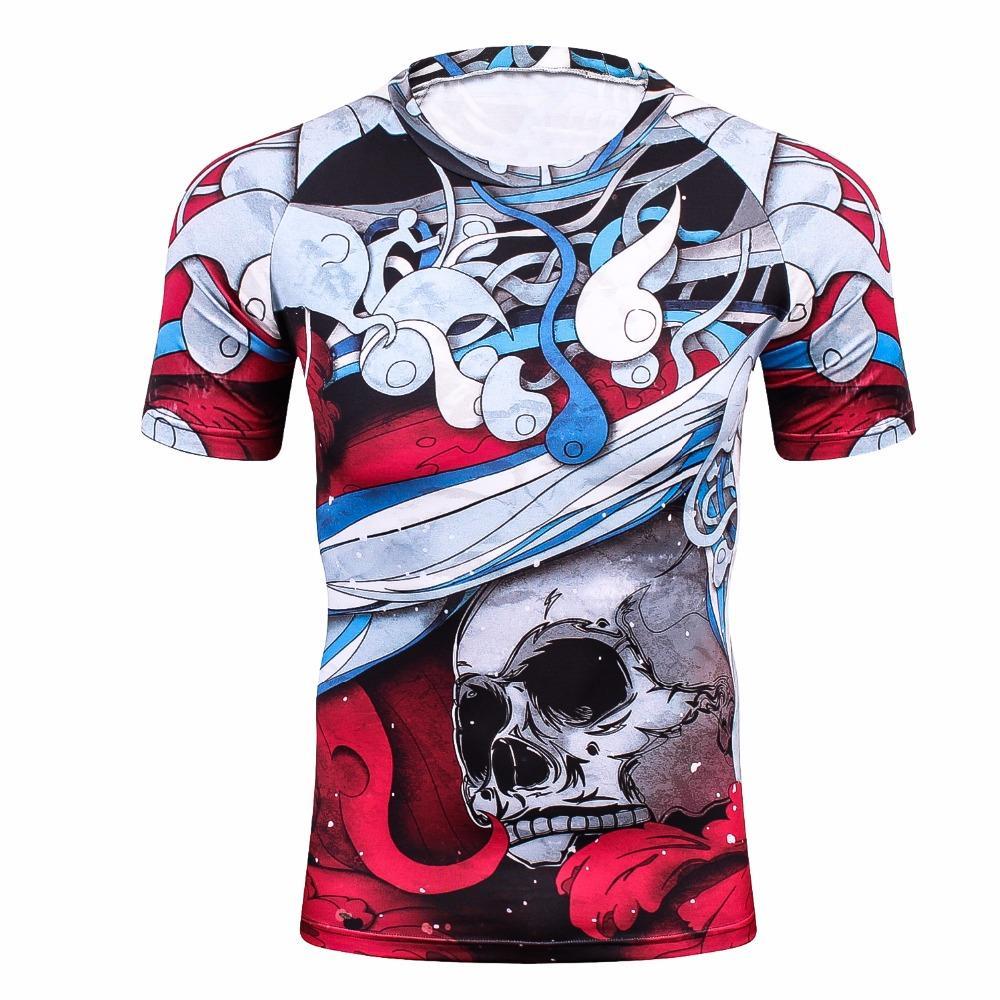 67fefc1531cb6 Compre Camisa De Compresión Para Hombres Rashguard MMA 3D Prints Camiseta  De Manga Corta Transpirable De Secado Rápido Entrenamiento Culturismo  Fitness Tops ...