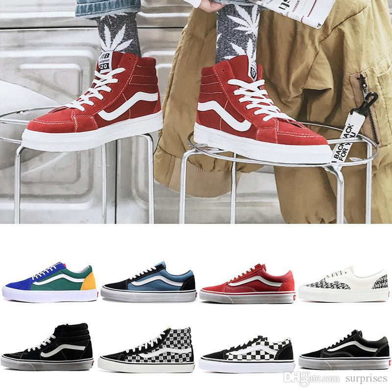 f29eeaf466dadb 2019 Original Vans Old Skool Sk8 Hi Mens Womens Canvas Sneakers Black White  Red YACHT CLUB MARSHMALLOW Fashion Skate Casual Shoes Size 36 44 Sperry  Shoes .