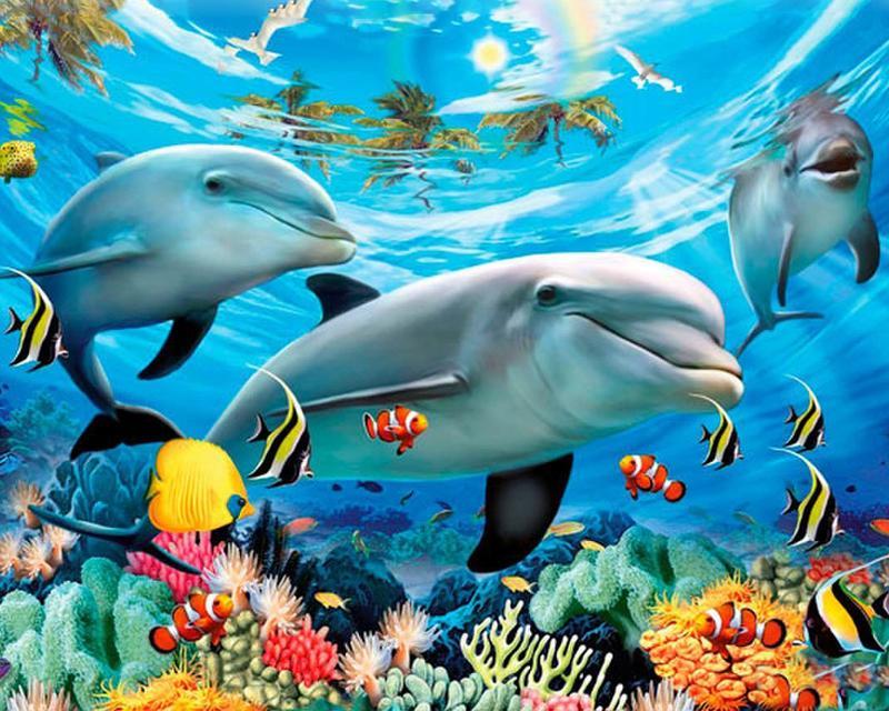 Satın Al Elmas Nakış Sualtı Dünyası Yunus Balık Elmas Boyama çapraz