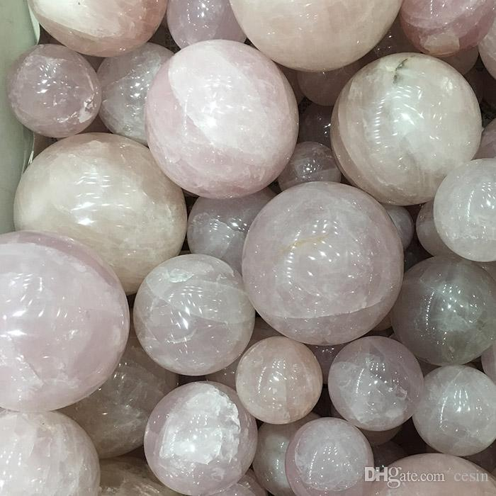 Natural Rose Quartz Crystal ball Pink blush powder tumbled stone rounded artware roundness playing toy polished crafts gift sphere arts