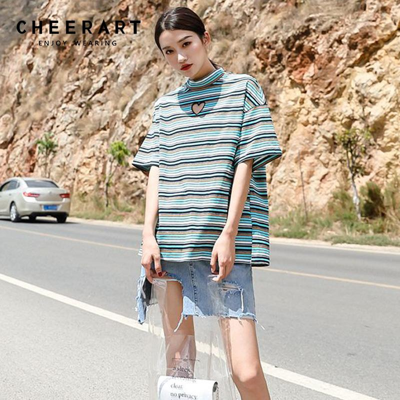 45d63cfb4f8664 Cheerart Striped Loose T Shirt Women Ulzzang Cut Out Heart Green Tee Shirt  Femme Summer Tops For Women 2018 Print Shirt Long Sleeve Tee Shirts From  Xiatian7 ...