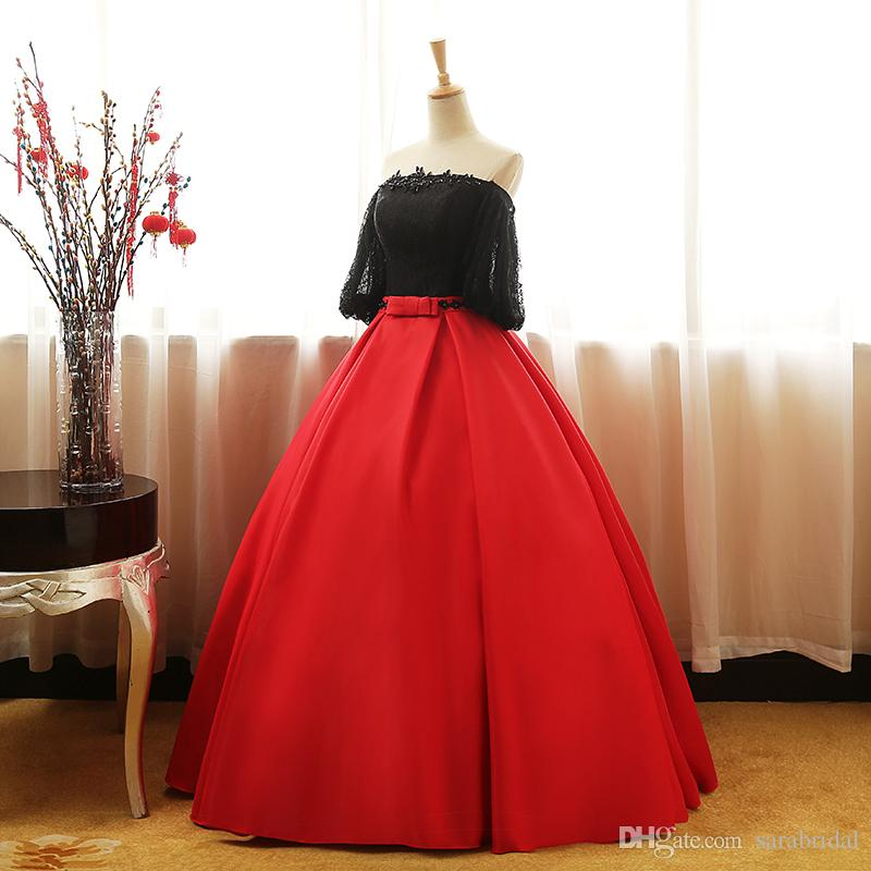 Real Picture Red And Black Sweet 16 Dresses Prom Party Homecoming Gown Off Shoulder Short Sleeve Lace Satin Bow Quinceanera Dress Custom