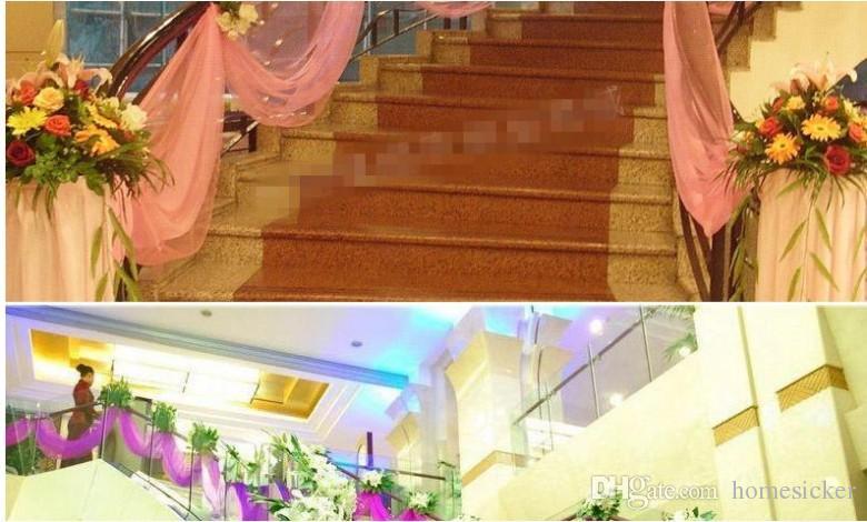 es moda cinta rollo organza hilo de tul silla cubiertas para bodas telón de fondo decoraciones cortinas suministros 50 m / roll
