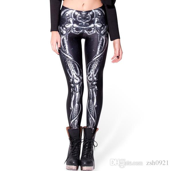 36ab15b3ef Women's Sexy Leggings Punk mechanical skeleton Printed Sport Girl Skinny  Stretchy Pants Tight Fitting Elastic Slim Fitness Pencil Trousers