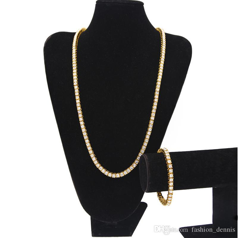 Men S Iced Out Chains Jewelry Set 1 Row Bling Bling White Black Rhinestone  Long Tennis Necklaces Bracelet For Women Hip Hop Jewelry UK 2019 From ... 04a8053bb8fe