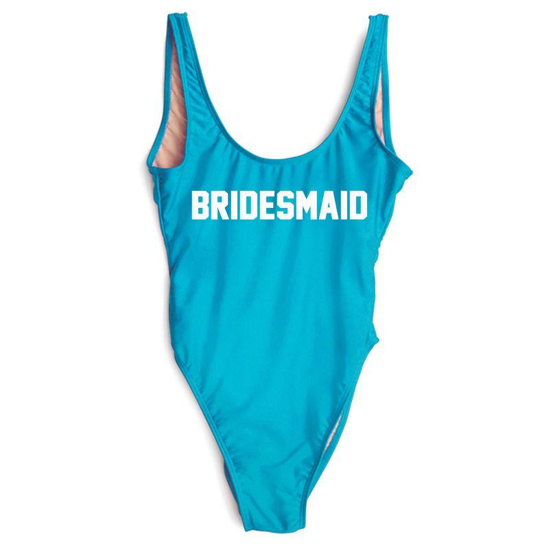 935340aa84 ... Sexy New Letter One Piece Swimsuit BRIDESMAID Swimwear Women Beachwear  Summer Bathing Suit High Cut Bodysuit ...