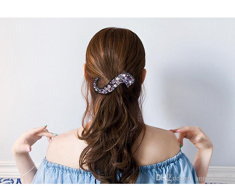 DIY Large Clamps S shape Hair Clips Luxury Austrian Crystal Diamond big Hair Claw Wholesales Original Jewelry Mother Day Valentine Gift
