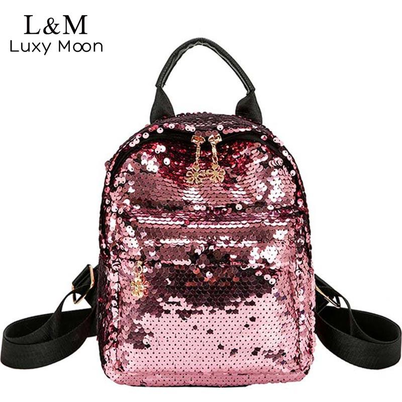 bff903f230 Luxy Moon Glitter Backpack Women Sequins Backpacks Teenage Girls Bling  Fashion Brand 2018 School Bag Travel Bags XA313H Bag Brand Fashion Online  with ...