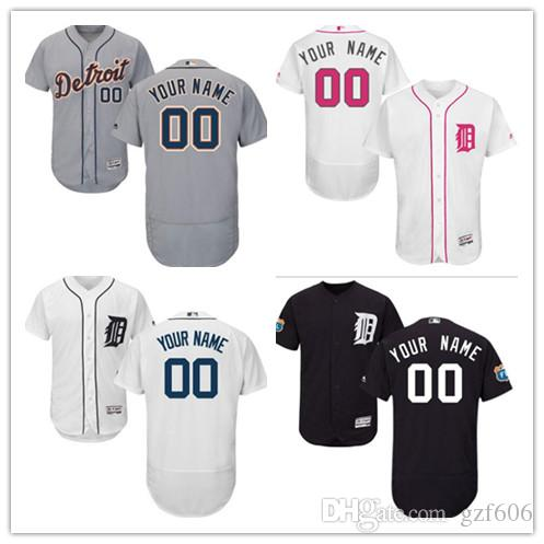 8903f98fc Custom Men s Women Youth Majestic Detroit Tigers Jersey Personalized ...