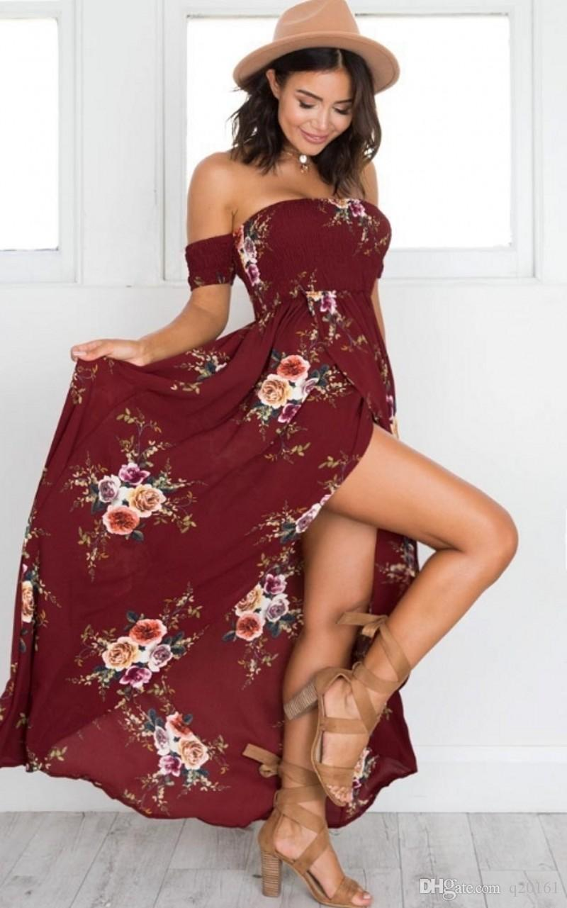 Venda quente Mulheres Floral Imprimir Strapless Boho Vestido de Noite Vestido de Festa Longa Maxi Vestido de Verão Vestido de Verão Vestidos Casuais plus size XS-5XL