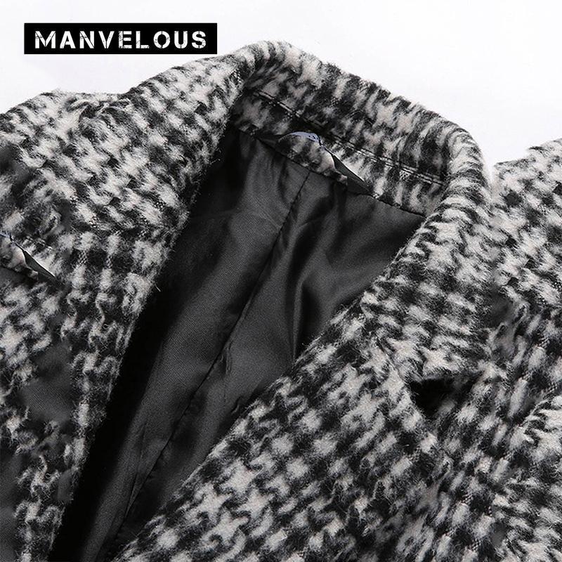 Elegantes abrigos a cuadros Moda para hombre de negocios Casual Bolsillo de solapa recto Lana mediana Mezclas Patchwork Trench abrigos para hombre