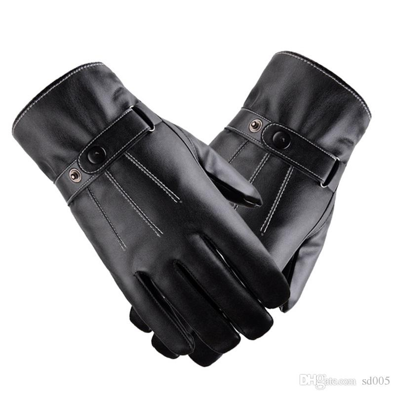 Sincere 2018 Men Glove Winter Windproof Glove For Men Warm Glove Fashion Classic Black Gloves For Women Men's Gloves