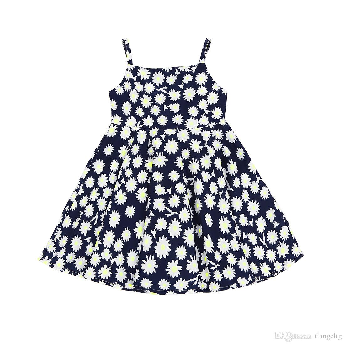 9fe5a3fa4633 2019 Girls Floral Printed Dress Small Flowers Skirt Sleeveless Baby Girls  Dresses Vest Rompers Skirt Breathable Summer Outfit 2 7T From Tiangeltg