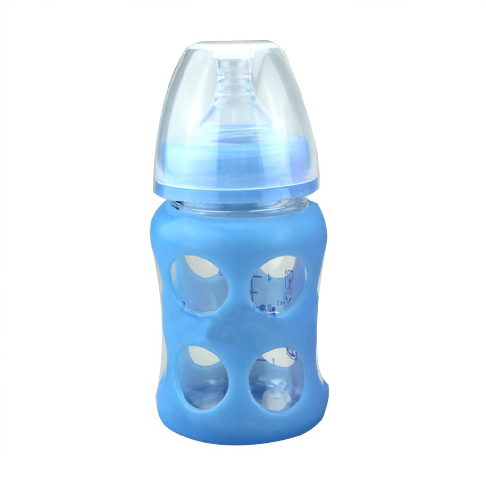 150ML Newborn Infant Glass Feeding Bottle With Spoon Insulated Silicone Cover Baby Water Food Feeder Bottles @ZJF