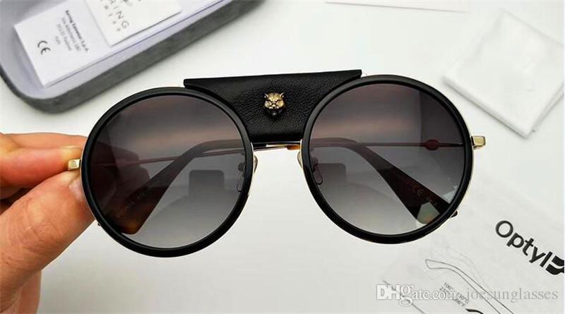 eeb73442386 New Fashion Designer Women Sunglasses 0061 Round Leather Frame With Leopard  Removable Top Quality Uv400 Protection Eyewear Knockaround Sunglasses  Sunglases ...