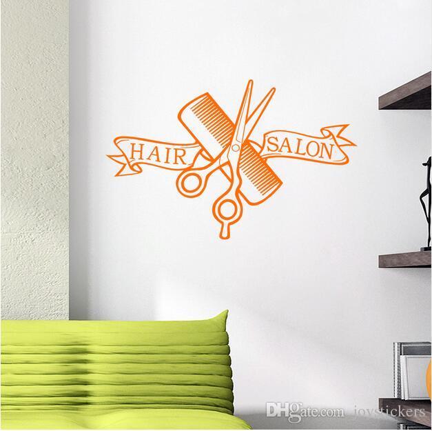 Parrucchiere Negozio di barbiere Adesivo Forbici Tagliacapelli Parrucchiere Decalcomania da taglio neutro Adesivo da parete in vinile Decorazione finestre 37 * 58 // 58 * 91 cm