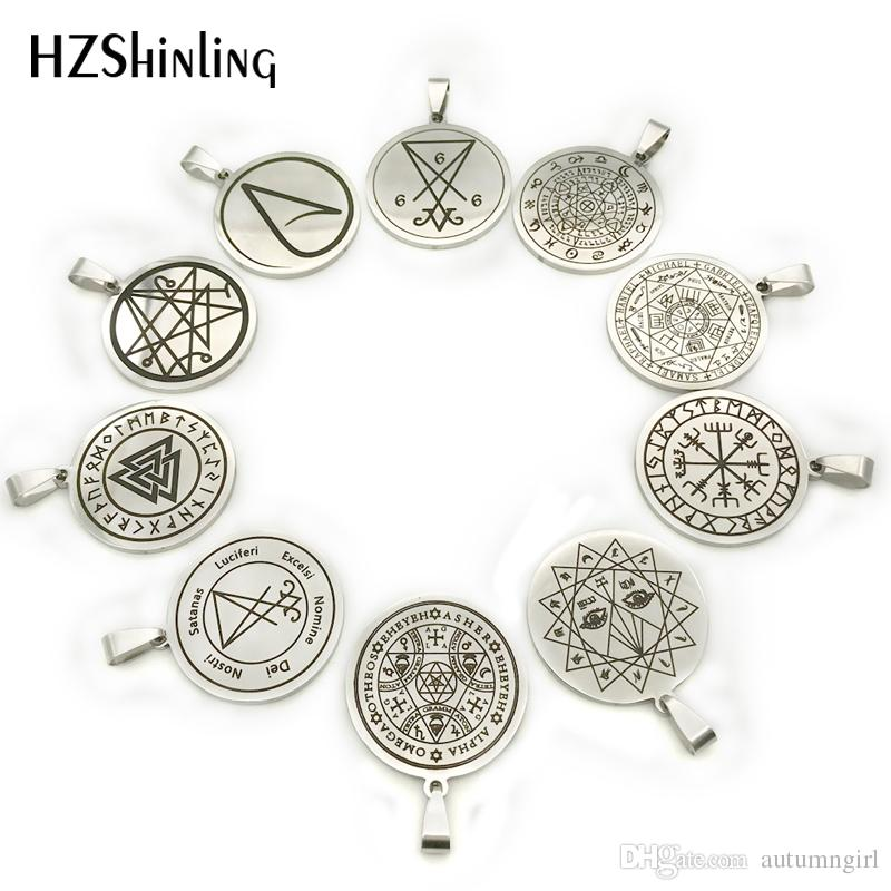 2018 New Hecate's Circle Stainless Steel Necklace Hand Craft Silver Pendant Necklaces Art Round Jewelry Ball Chain