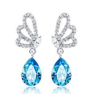 Women Butterfly Teardrop Stud Charm Earrings Rhinestone Crystal Silver Alloy Girl Lady Noble Shiny Eardrop Retail Wholesale TM025