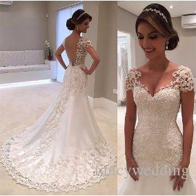 2018 Hot Sell New Coming Lace Mermaid A-line Sweep Train Backless Custome Made Beautiful Fashion Sexy Wedding Dress