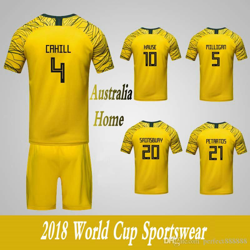 2026a56f4 Men s Clothing Tracksuits Australia National Team Home Football Sport Suits 2018  World Cup Soccer Uniform Clothes Shorts