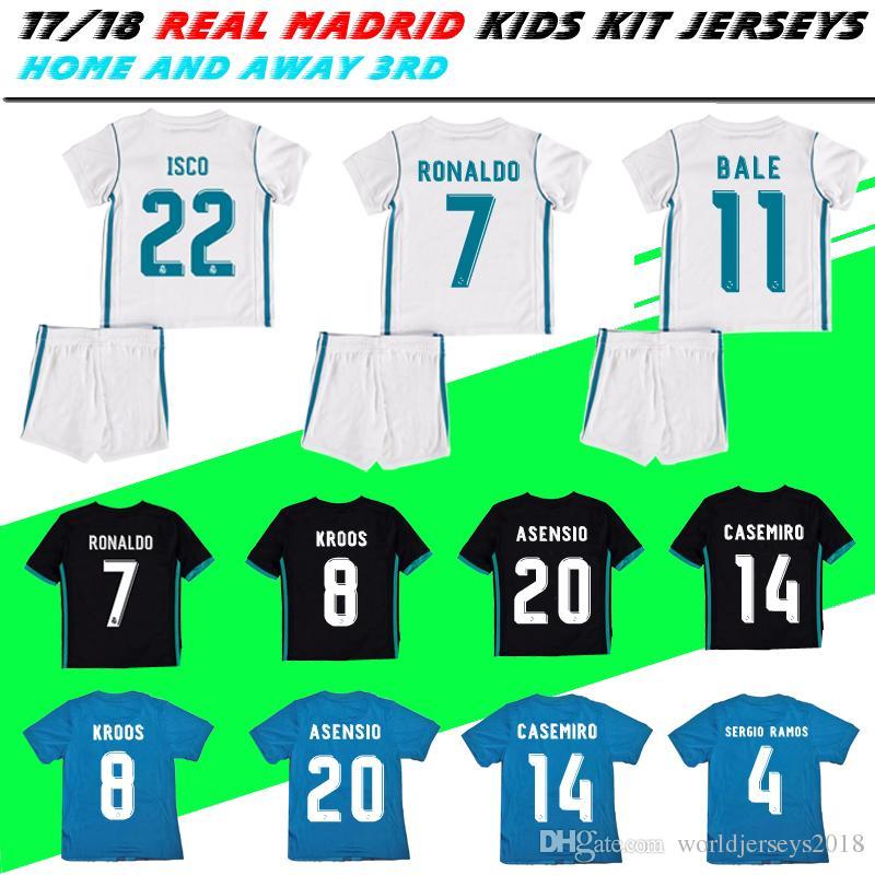 620a9e6c99a 2019 2018 Kids Kit Real Madrid Football Jersey 2017 18 Home White Away  Black Boy Soccer Jerseys Children Soccer Shirts Ronaldo Bale ASENSIO ISCO  From ...