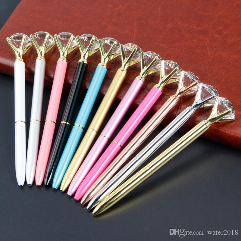 Kristal Cam Kawaii Tükenmez Kalem Büyük Elmas Moda Okul Ofis Malzemeleri Ile Büyük Gem Top Kalemler