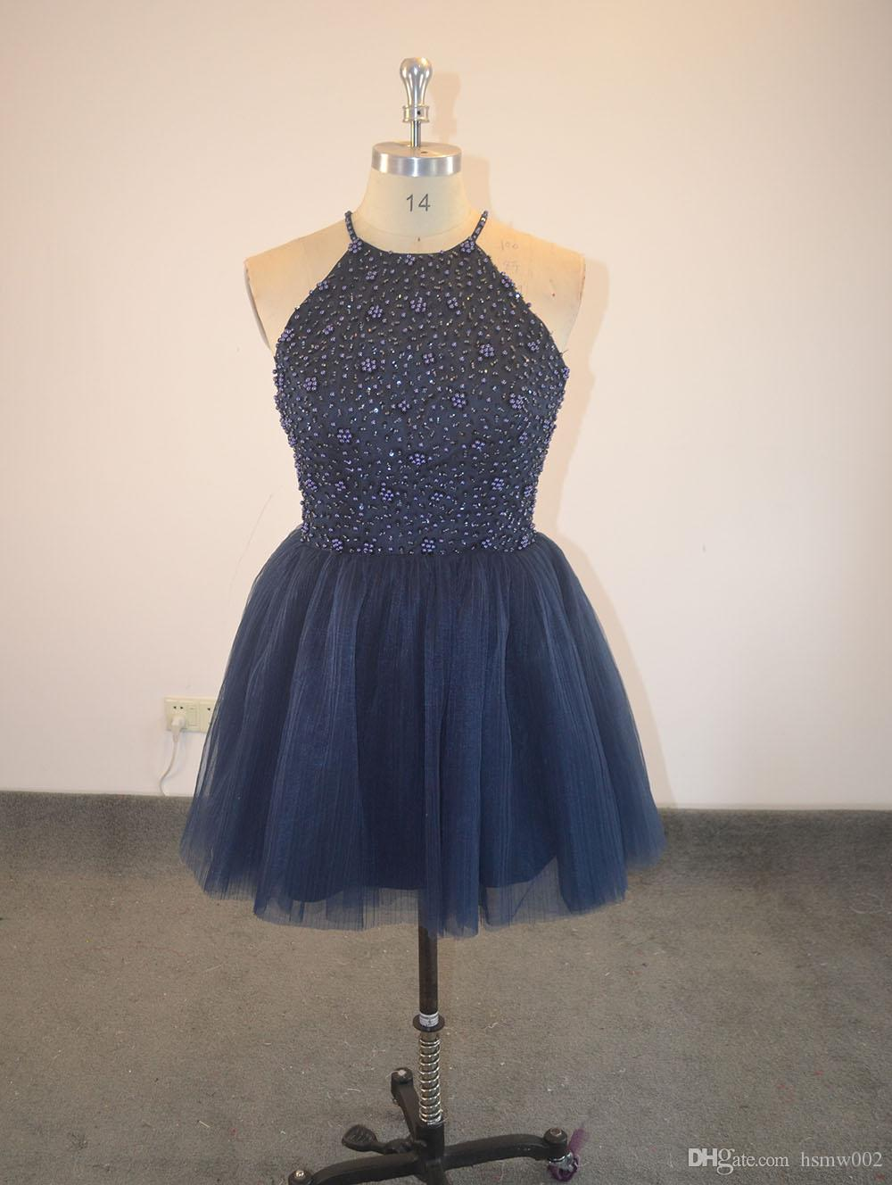 Pretty Halter Burgundy Keyhole Back Beading Short Prom Dresses Vestido De Festa Girls Party Dress Real Homecoming Dress