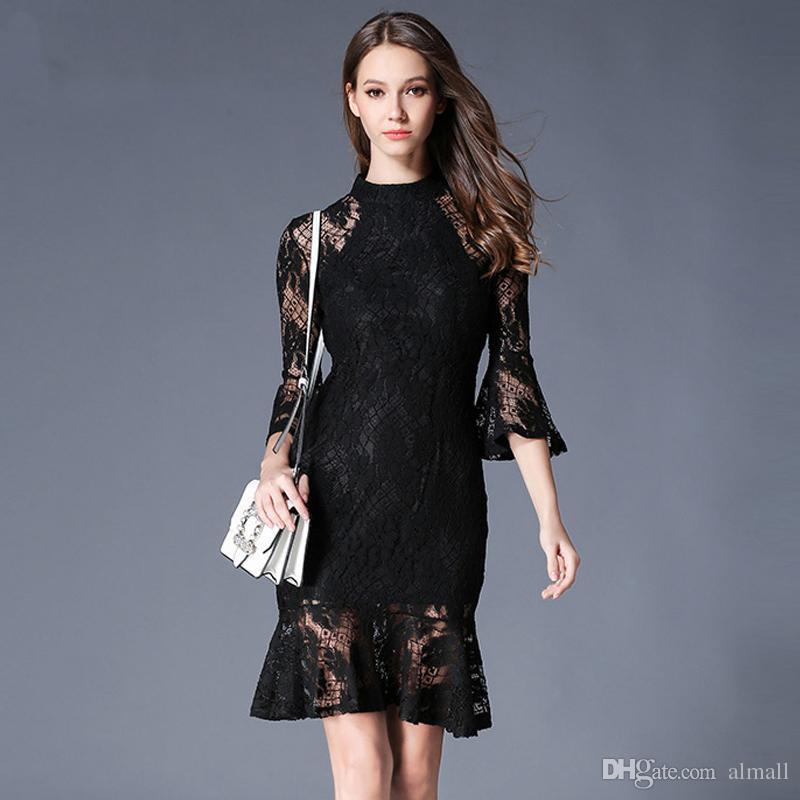 online retailer 54fda 634f9 Vestito da ufficio in pizzo elegante con maniche lunghe da donna elegante  abito da ufficio in tromba con maniche lunghe