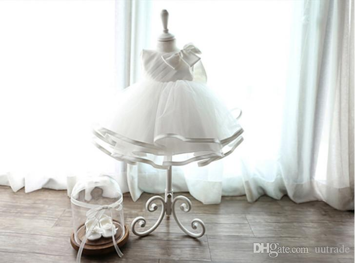 retail 2018 Newborn baby Baptism Dress Christening Gown Girls' party Infant Princess wedding dress baby clothing sleeveless veil Tutu dress