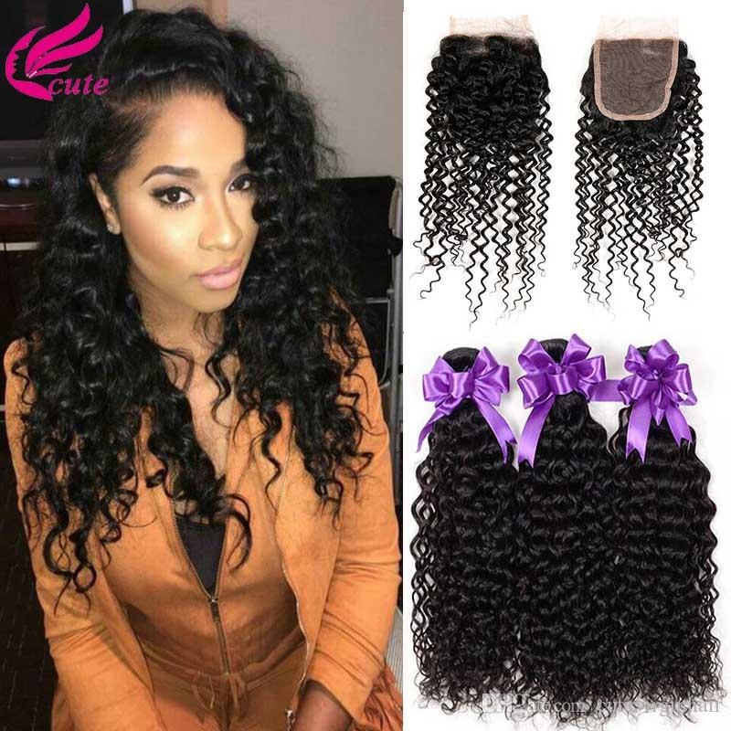 2018 Brazilian Afro Kinky Curly Hair Weave 3 Bundles With Lace