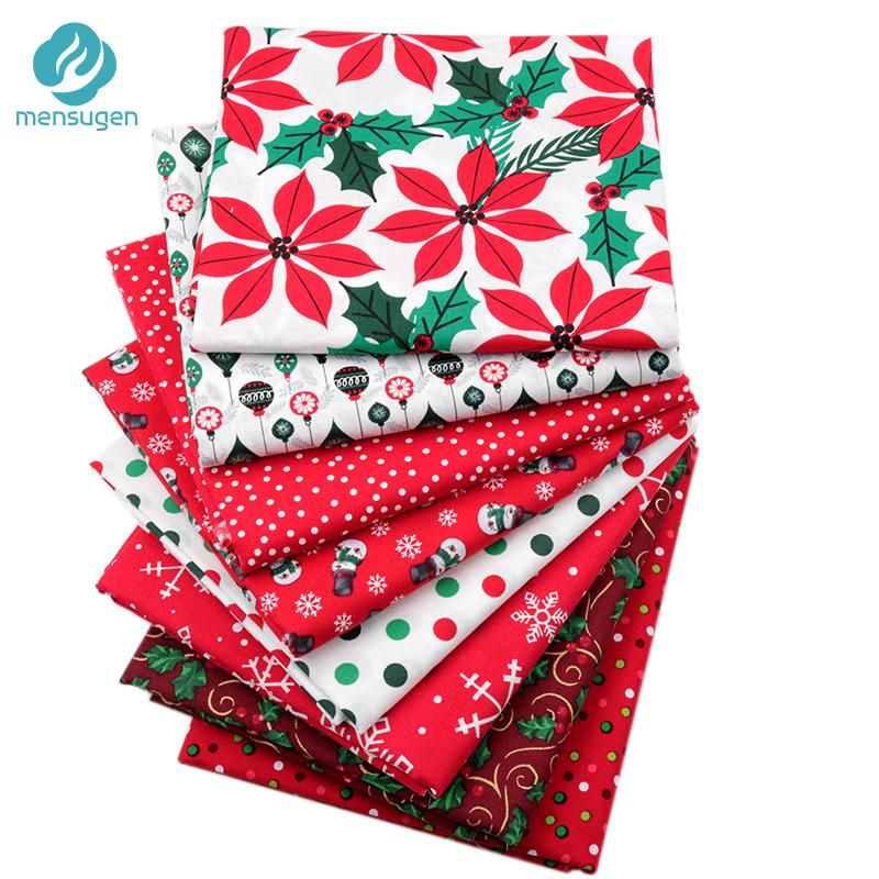 2018 new half meter red christmas cotton fabric for patchwork diy sewing home decoration snowflake snowman polka dot quilting fabric from lemon888
