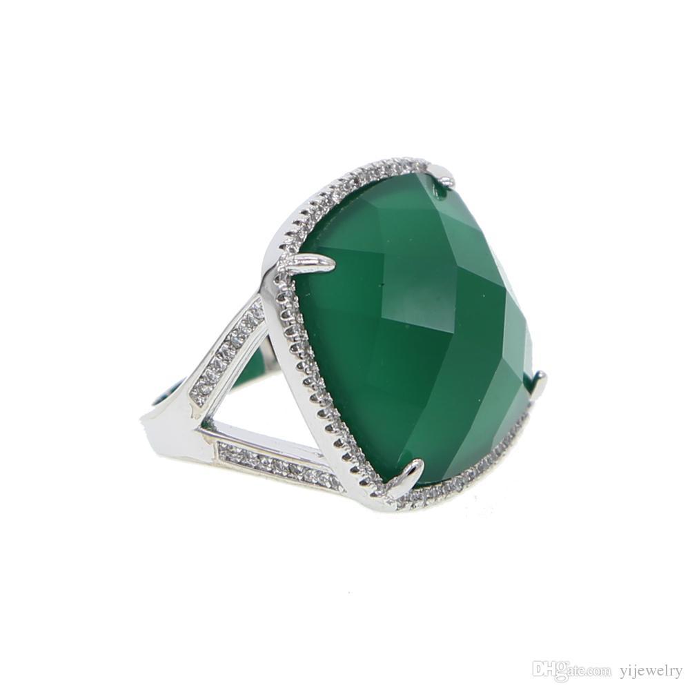 Prächtig Großhandel Smaragd Großen Edelstein Ring Gold Silber Überzogene @XP_75