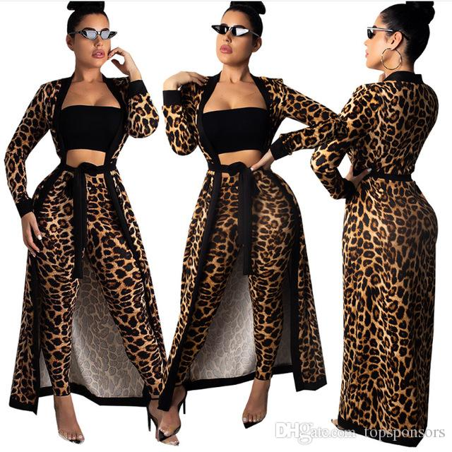 558bb123 Women Two Piece Set Outfits Leopard Print Long Legging Pencil Pants+Cloak Dress  Smock Femme Sexy Club Night Outfits With Belt