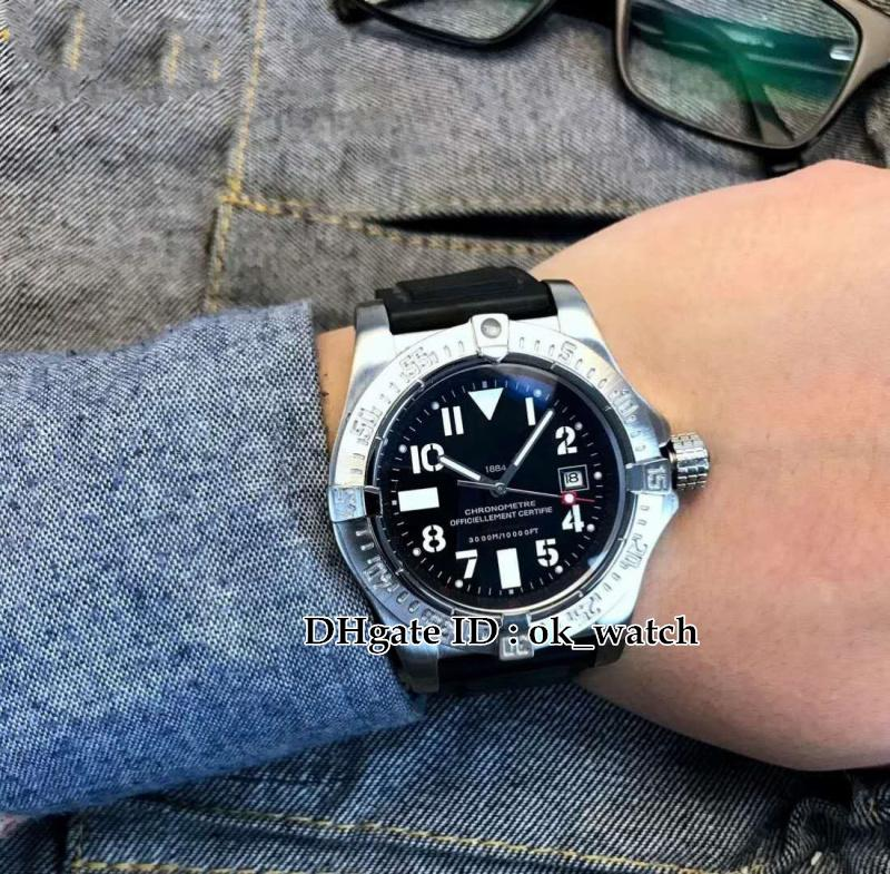 High quality mens watch Avenger II Seawolf A1733110 45mm Silver case black dial Men's Automatic Watch Rubber strap Gents new best watches