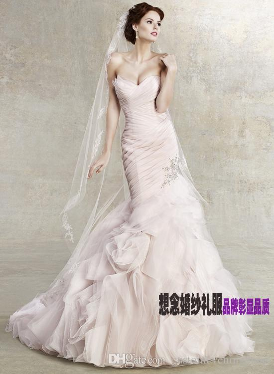2018 womans design fish tail new fashion brides white long pink organza Mermaid wedding dresses bridal formal gown