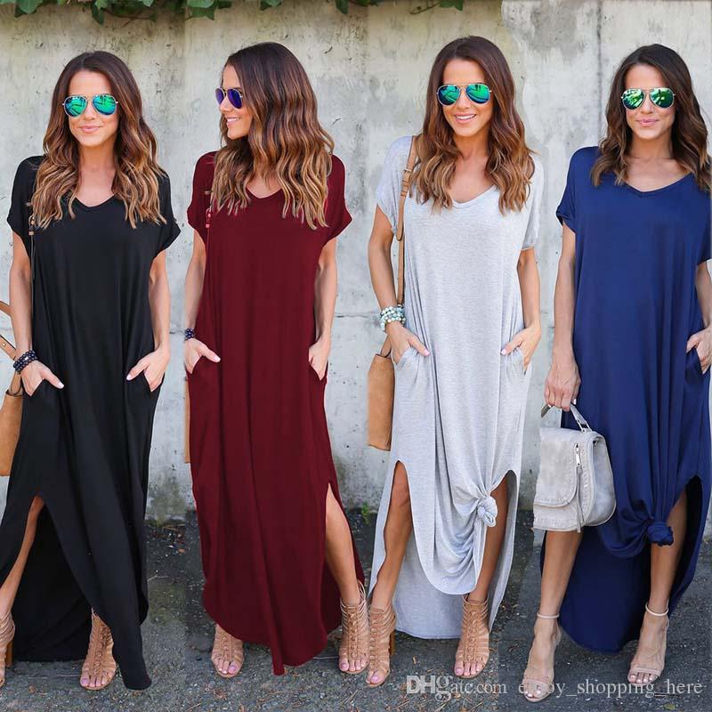 9 colors Women Summer dresses Clothes Stylish Pullover Maxi Dress A type knit Casual Long Dress Short Sleeve Backless Lady Clothing Pocket