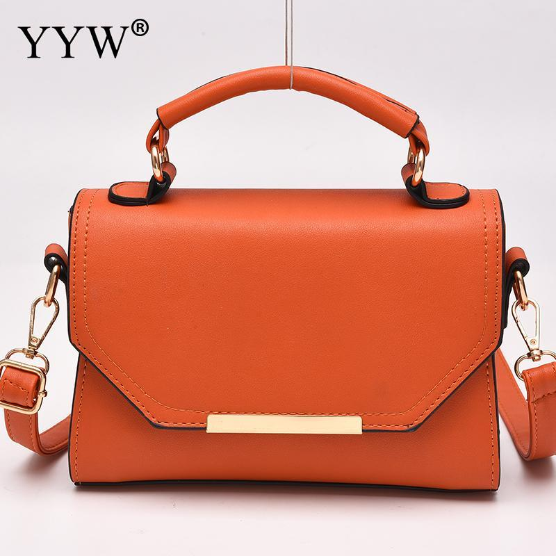 83c2859a2b8d Orange Women Handbag Mini Square Pu Leather Crossbody Portable Shoulder  Tote Handbags Fashion Ladies Top Handle Hand Bags 2018 Ladies Bags Leather  Satchel ...