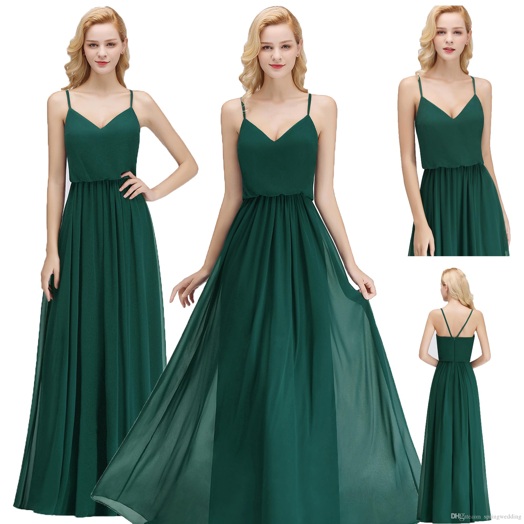 6e808679aef2 2018 Cheap Dark Green Bridesmaid Dresses A Line Chiffon Maxi With Spaghetti  Straps Wedding Guest Dress Maid Of Honor Gown BM0032 Cap Sleeve Bridesmaid  ...