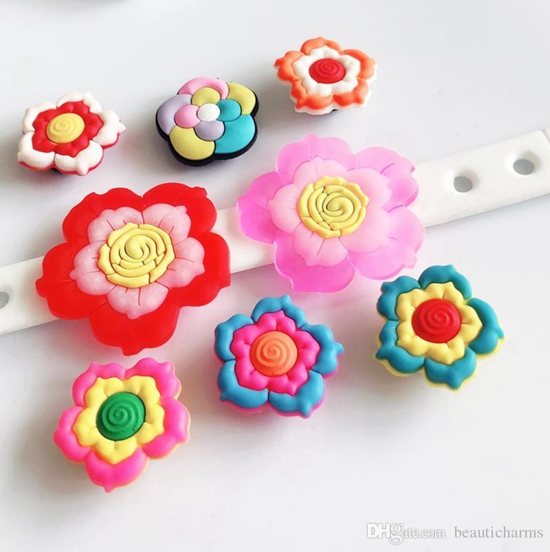 3a9df9628d157 10PCs Mixed PVC Flower Shoe Charms Popular Streetsnap DIY Children Hole  Shoes Cross Bracelets Kids Gifts