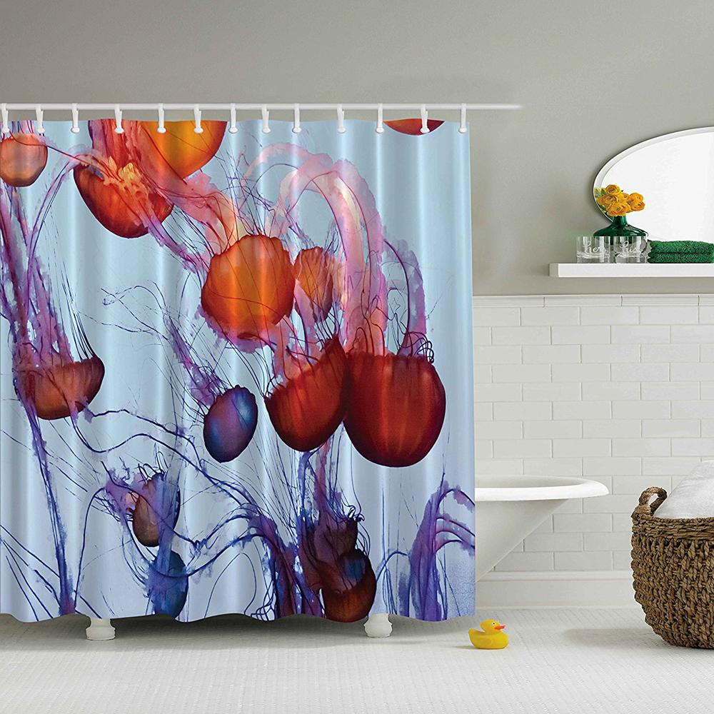 2019 Shower Curtain Sea Animals Contemporary Nautical Abstract Artwork Decor Colorful Jellyfish In The Ocean Seaside Waterdrop From Goutour