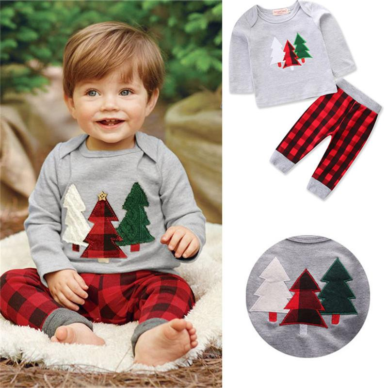 1782f25dd 2019 Hot Sale Christmas Tree Xmas Baby Boy Clothes Set Long Sleeve + ...